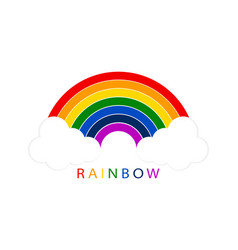 rainbow with white clouds on blank background for vector image