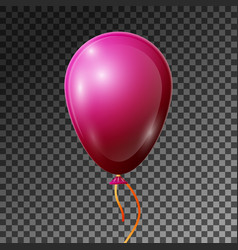 realistic pink-red balloon with ribbon isolated vector image
