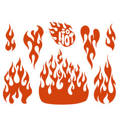 Red flame elements set vector
