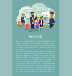 refugees at airport poster vector image
