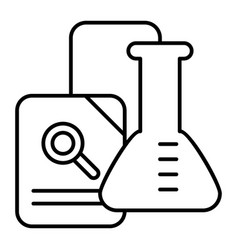 research thin line icon chemical flask and vector image