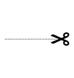 scissor cut line icon black scissor border paper vector image