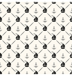 seamless pattern anchor sailboat shape and line vector image