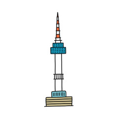 Seoul tower doodle icon color vector