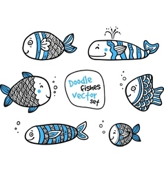 set black and white fishes in doodle ink style vector image