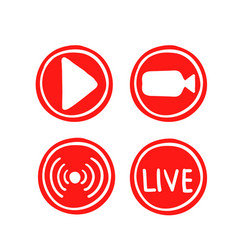 set hand drawn live streaming icons vector image