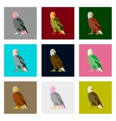 Set of in flat style eagle vector image
