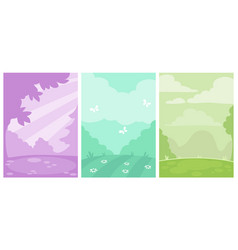 set three simple monochrome vertical nature vector image