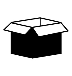 Silhouette monochrome with box of cardboard opened vector