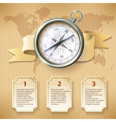 Silver compass infographic vector