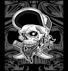 skull head wearing bandana and hat vector image