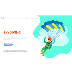 Skydiving person with parachute jumping website vector