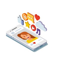 social media profile page isometric vector image