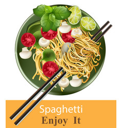 Spaghetti plate realistic healthy gourmet vector