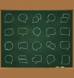 speech bubble chalk draw line icons set vector image