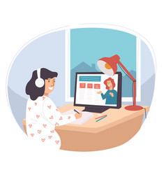 student studying online using online course in web vector image