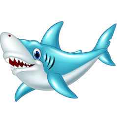 stylized cartoon angry shark on a white background vector image