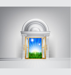 Sunrise over fields through grand entrance vector