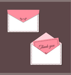 thank you card and open and closed envelope vector image