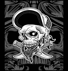 The skull head wearing bandana and hat for vector
