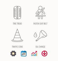 Tire tread traffic cone and oil change icons vector