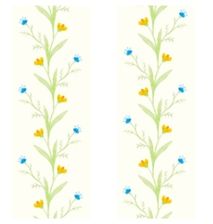 Watercolor flowers spring seamless pattern vector