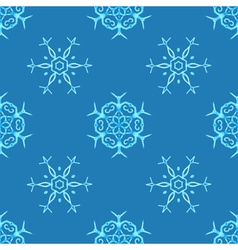 Watercolour snowflakes on blue background vector image