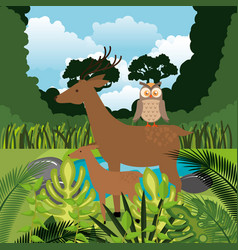 wild animals in the jungle scene vector image