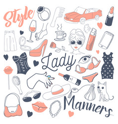 Woman lifestyle freehand doodle hand drawn vector