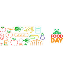 world food day web banner of outline icons vector image
