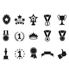 black award icons set vector image vector image