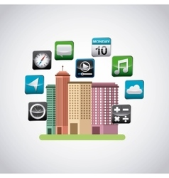 cityscape with app store icons vector image