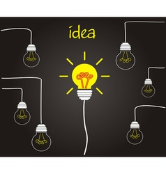 Idea concept - incandescent bulbs on the wires vector image