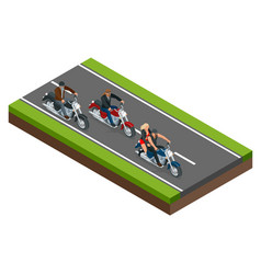 isometric bikers on a motorcycle on the road the vector image