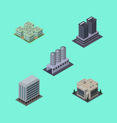 isometric building set of office tower company vector image vector image