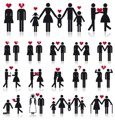 people in love icon set vector image vector image