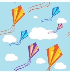 Seamless background with colorful kites in vector image