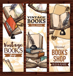 sketch banners for old vintage books vector image vector image