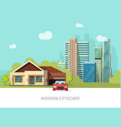 suburb view city buildings behind cottage home vector image vector image