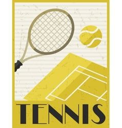 Tennis Retro poster in flat design style vector image vector image