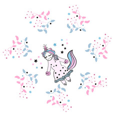 beautiful unicorn with floral frame magic vector image vector image