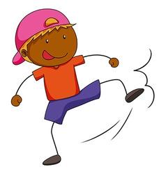Boy doing kicking action vector image vector image