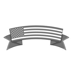 independence day ribbon icon monochrome vector image