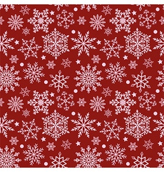 Snowflakes on red background seamless texture vector image vector image