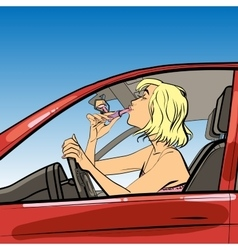 woman driver paint lipstick vector image