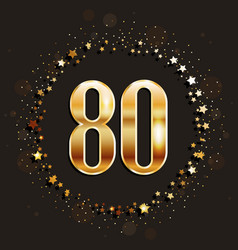 80 years anniversary gold banner vector image