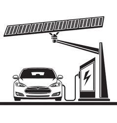 Car solar cell electric filling station vector