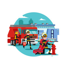 Colorful firefighting template vector