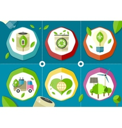 Eco icons green battery car vector image vector image