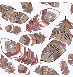 seamless ethnic Indian feathers plumage pattern vector image